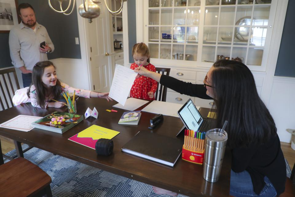 Some parents combine work and childcare at home depending on their job and employer.