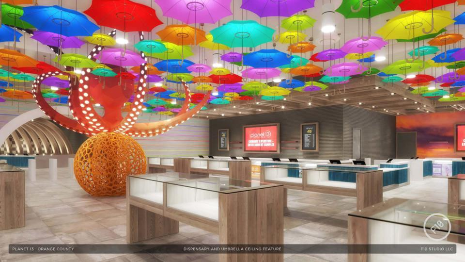 The visual renderings for Planet 13's new Santa Ana Superstore include an octopus sculpture and mist-covered umbrellas.