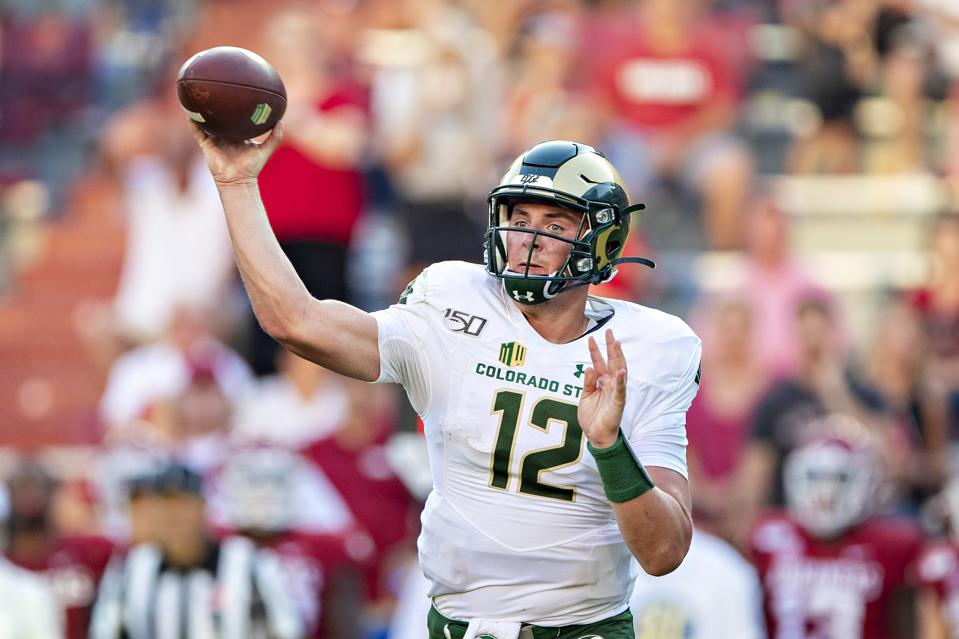 Colorado State quarterback Patrick O'Brien attempting a pass against Arkansas in 2019.