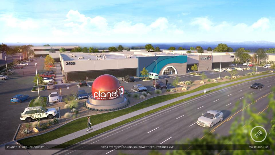 The exterior of a new Planet 13 SuperStore, located in Orange County, California.