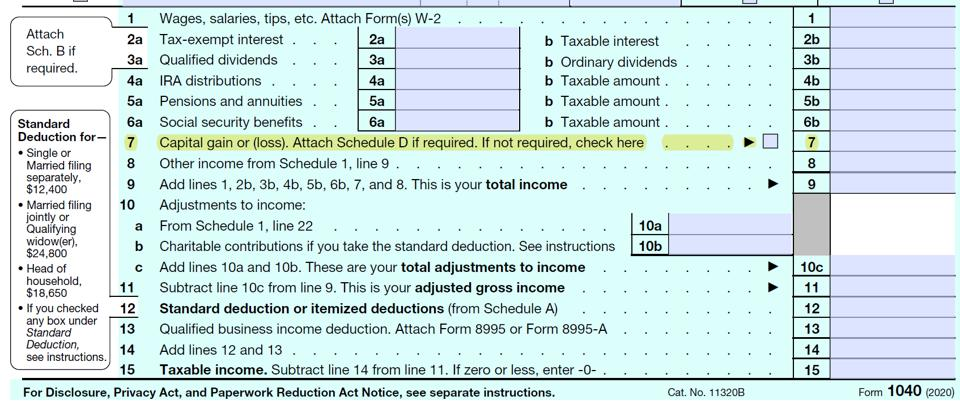 Line 7 (capital gain or loss) of IRS Form 1040