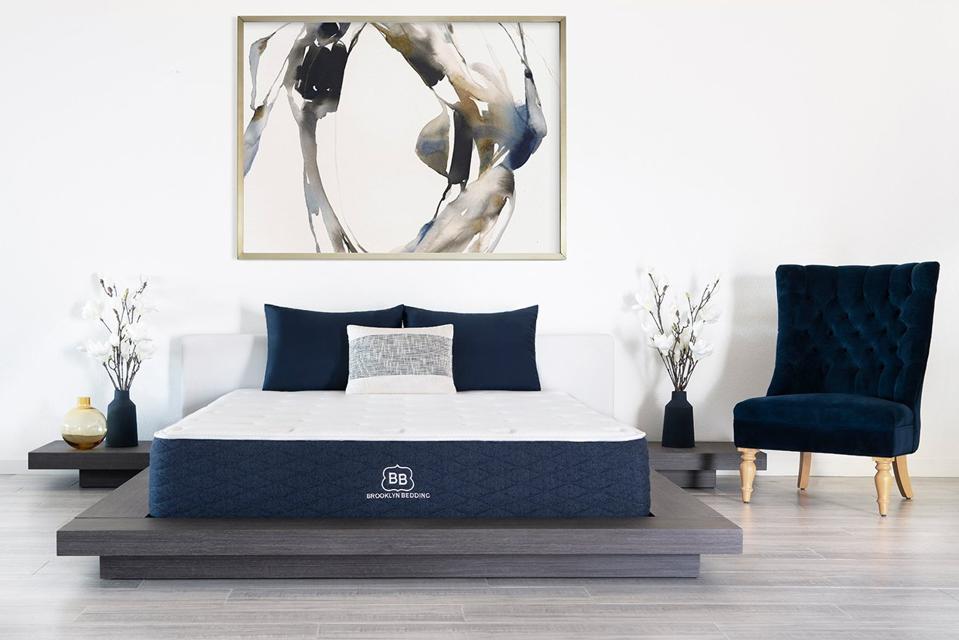 Brooklyn Bedding mattress set up in a bedroom.