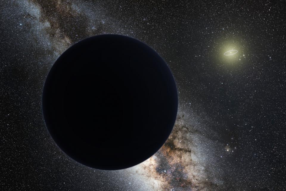 Artist's impression of Planet Nine as an ice giant eclipsing the central Milky Way.