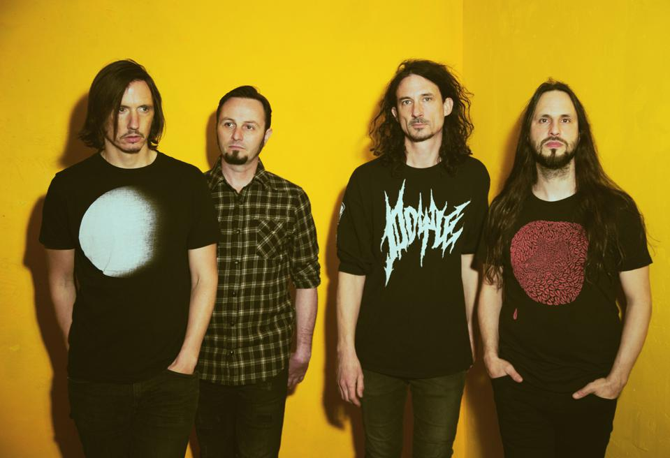 Gojira band members left to right, Mario Duplantier, Jean-Michel Labadie, Joe Duplantier, and Christian Andreu.