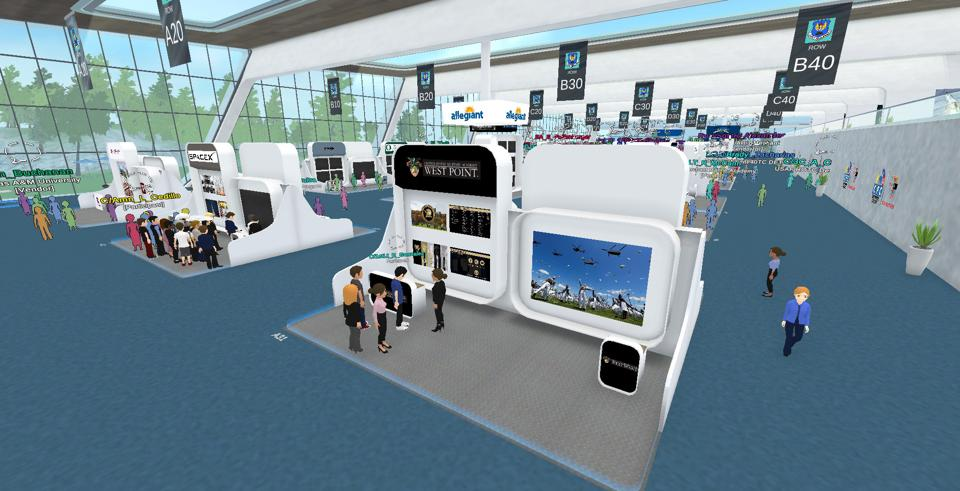 Virtual reality avatars attending a networking event for professional development
