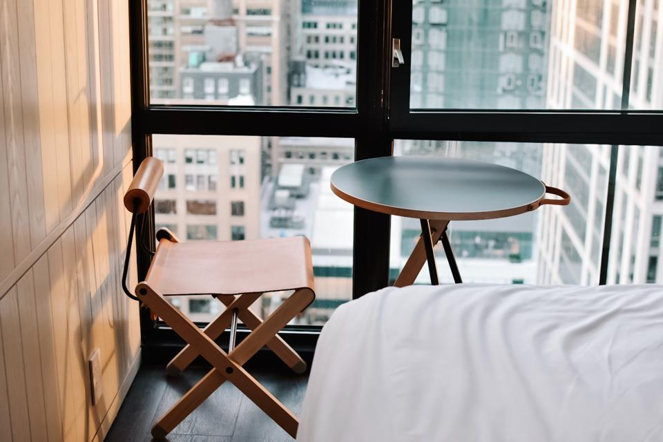 Hotel room side table and chair