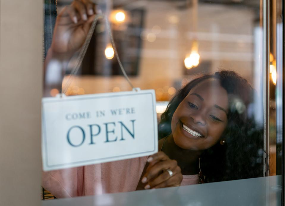 African American woman opening a small business