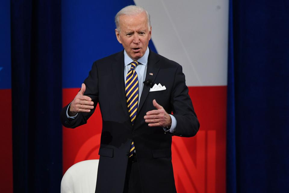 President Biden answers questions from the audience in a town hall in Milwaukee, Wisconsin on February 16, 2021.