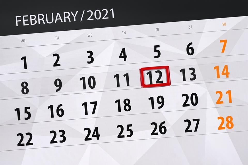 Calendar planner for the month February 2021, deadline day, 12, friday