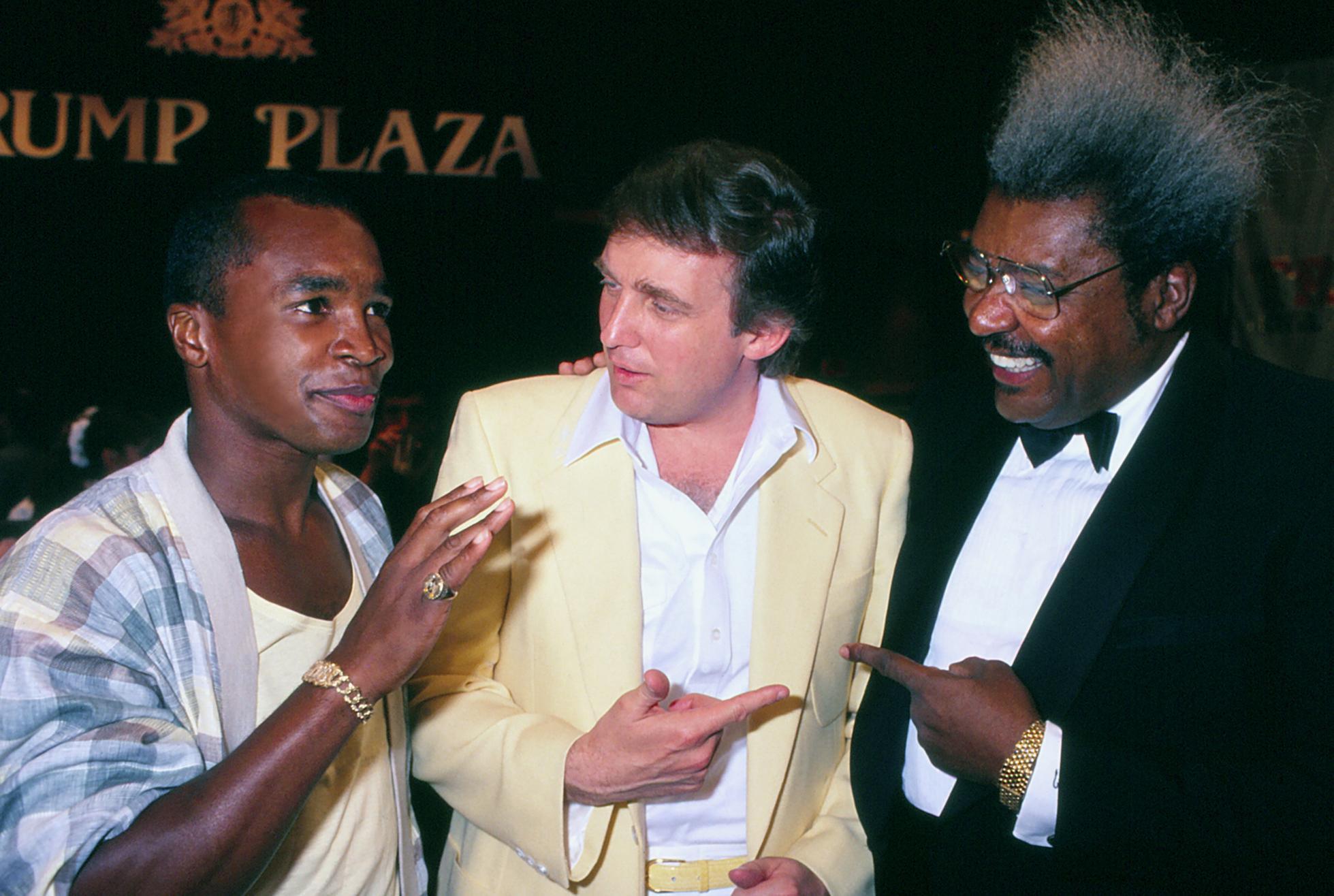 Sugar Ray Leonard And Donald Trump And Don King In Atlantic City