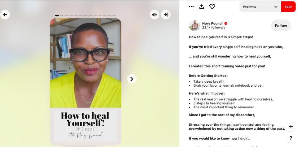 Pin dari Pinterest Creator dan pelatih kepercayaan diri Nory Pouncil tentang cara menyembuhkan diri sendiri.
