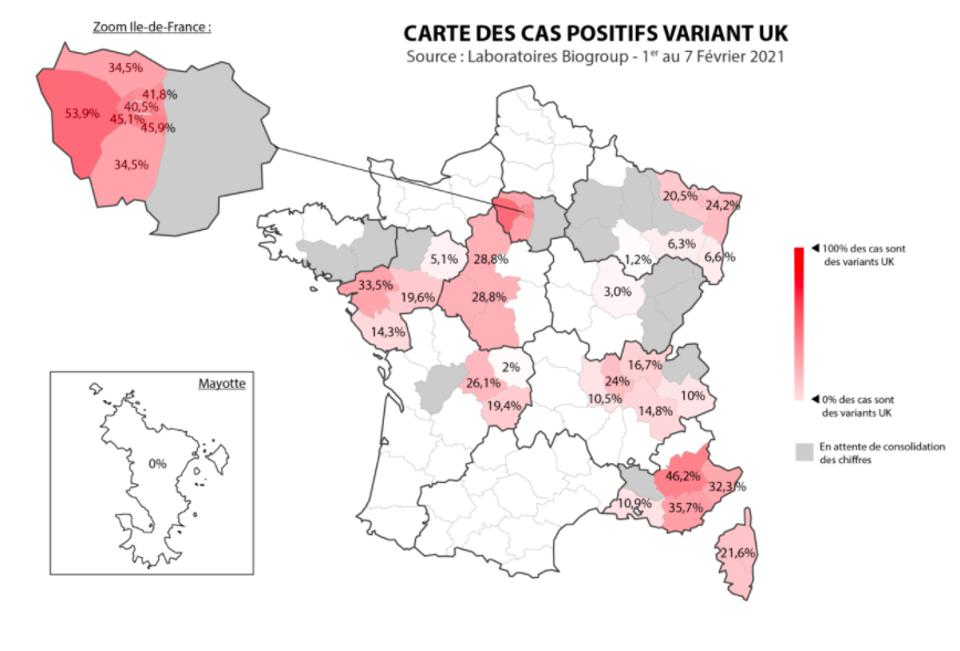 Map of the prevalence of UK variant across France based on 25% of testing by Biogroup Laboratories
