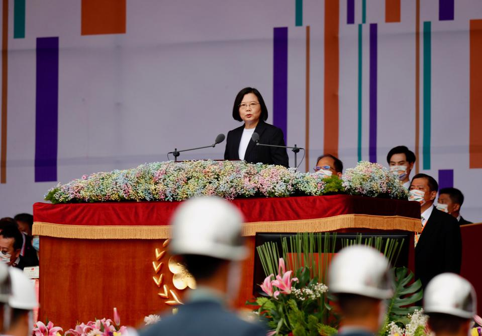Taiwan President Tsai Ing-wen delivers the 2020 national day address
