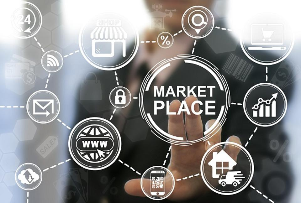 Man offers marketplace icon on virtual screen.