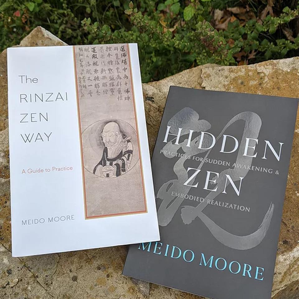 Book covers of Rinza Zen Way and Hidden Zen
