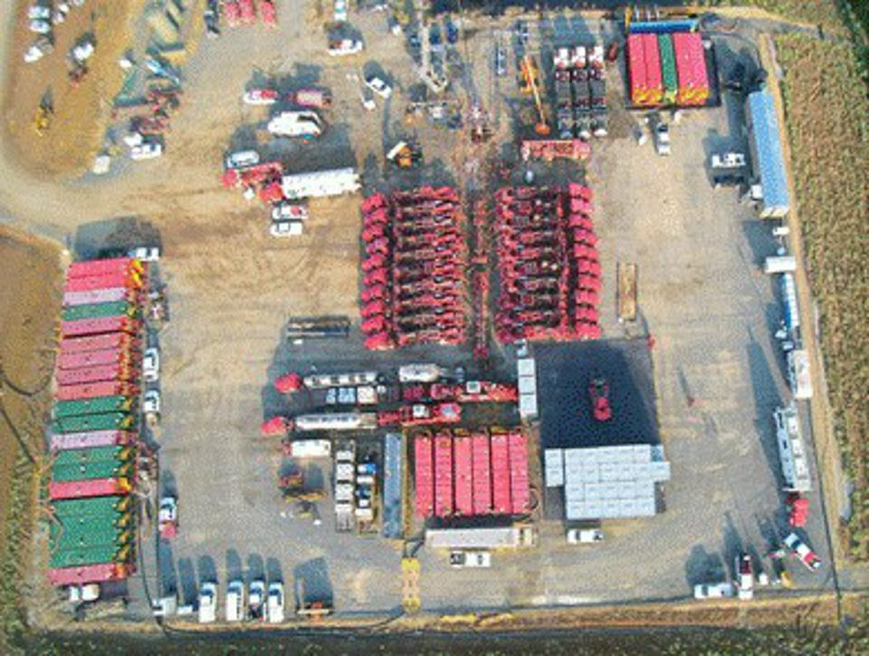 Aerial view of frac equipment ready to pump shale frac.