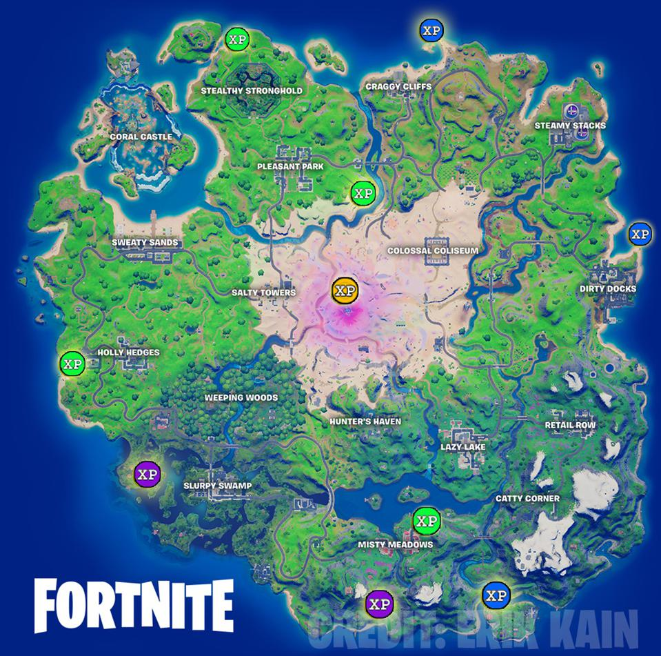 Week 12 XP Coin Locations