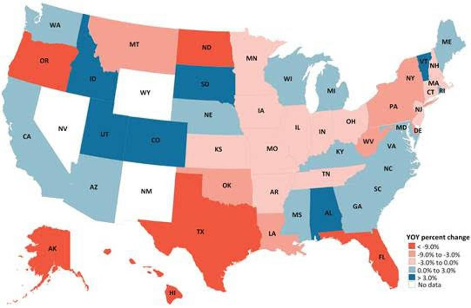 Map of states by revenue change in 2020 compared with 2019.