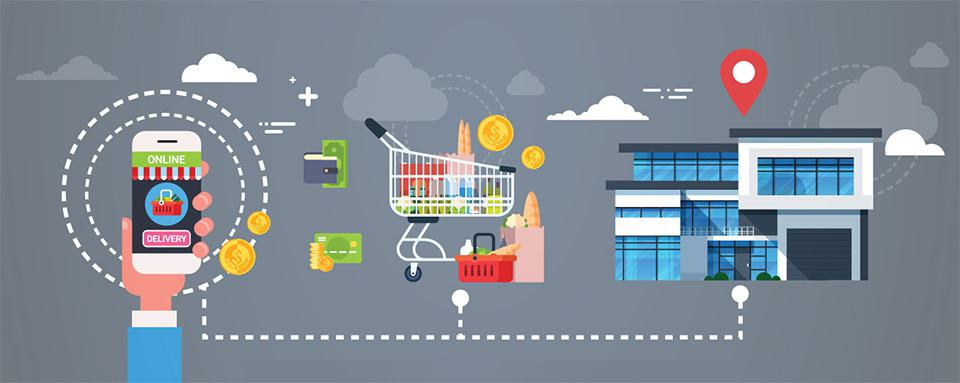 Infographic showing a simplified process for grocery shopping online