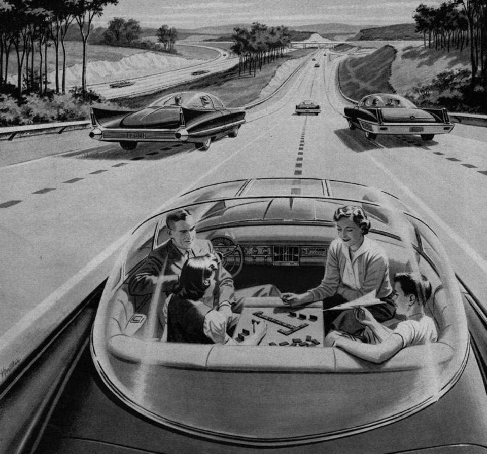 Driverless car advert 1957
