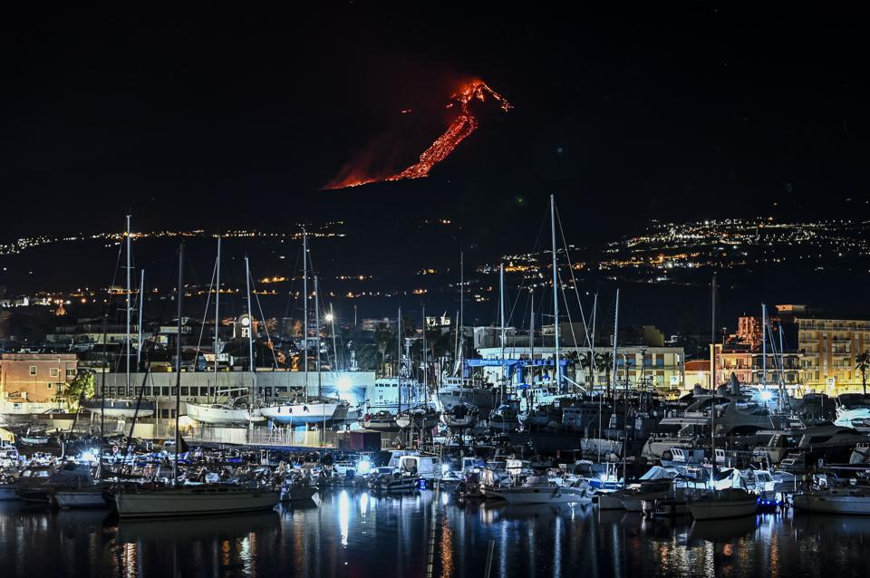 Mount Etna Volcano Eruption In Italy