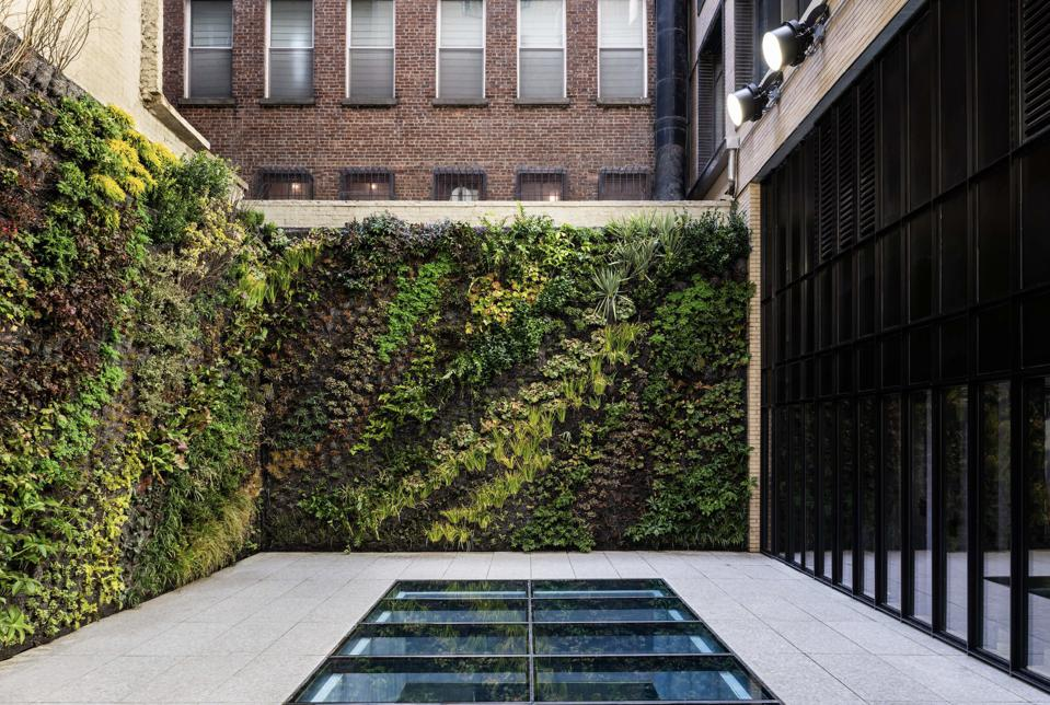 The vertical garden designed by French botanist Patrick Blanc.