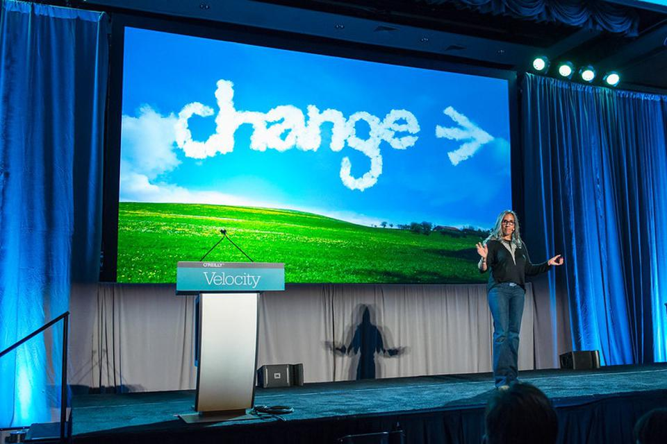 Lisa Gelobter speaks at Velocity New York in 2015