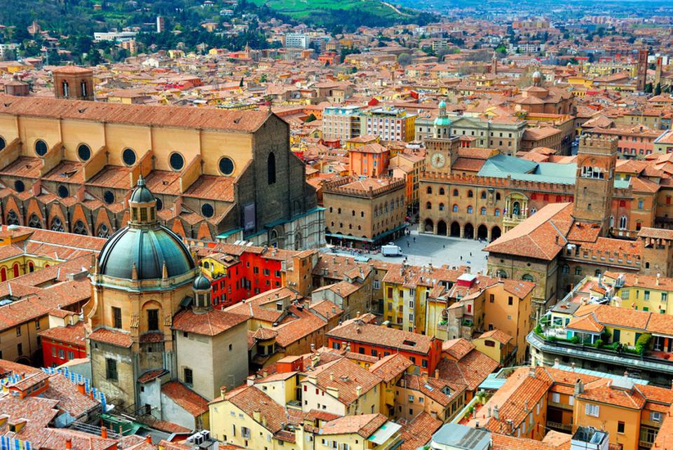 Italy, Bologna main square.View of red-roofed Bologna from Asinelli tower