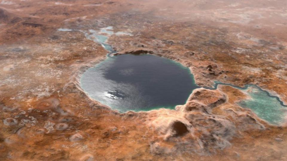 What Jezero Crater may have looked like 3 billions of years ago when it was filled with a lake.