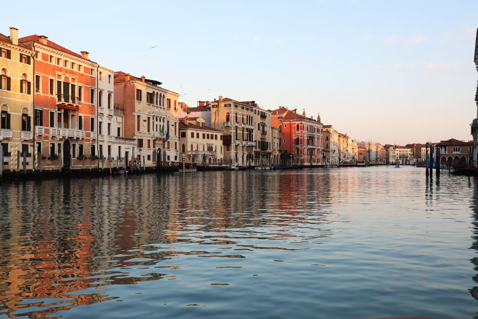 The Grand Canal is unusually quiet due to the absence of tourists on February 15, 2021 in Venice, Italy.