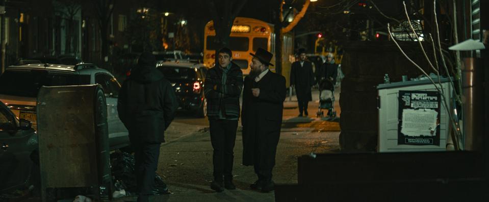 L-R: Dave Davis and Menashe Lustig in ″The Vigil.″