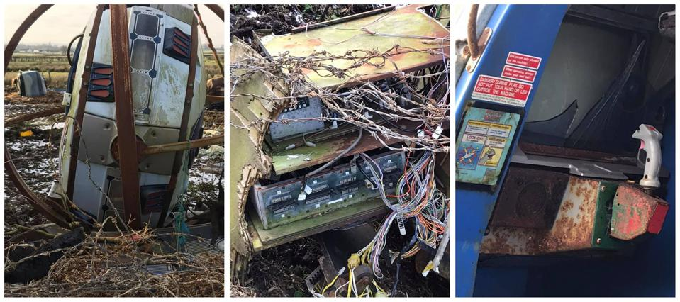 Photos of a decaying Sega R360 arcade cabinet in Northern Ireland.