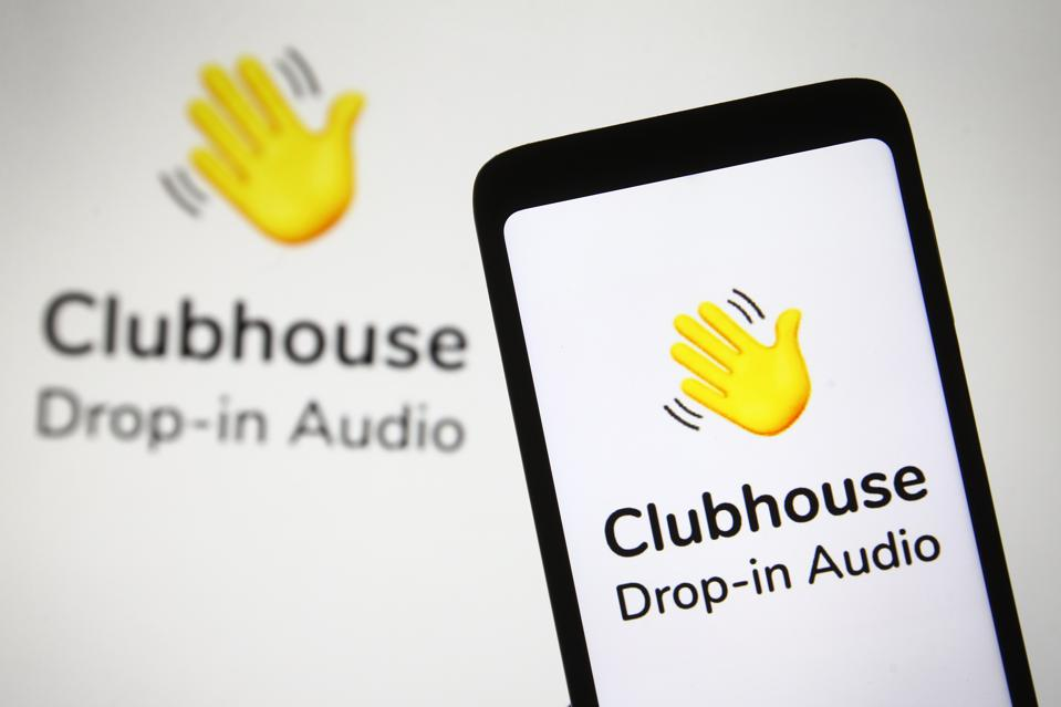 In this photo illustration the Clubhouse logo of an audio-...