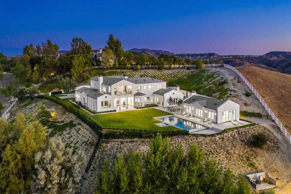 aerial photo of luxury hidden hills home travis grimm 5545 dixon trail