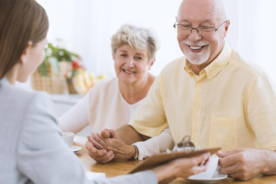 Senior people and financial advisor