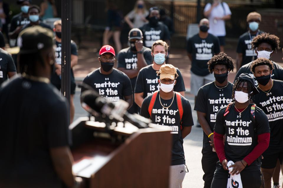 University Of South Carolina's Football Team Leads Protest Against Police Brutality On Campus