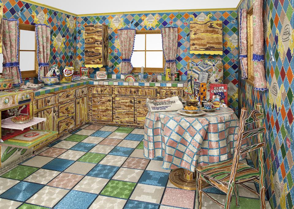 Liza Lou (b. 1969), Kitchen, 1991-96. Beads, plaster, wood, and found objects, 96 x 132 x 168 in. (243.8 x 335.3 x 426.7 cm). Whitney Museum of American Art, New York; gift of Peter Norton 2008.339a-x. Photograph by Tom Powel. © Liza Lou