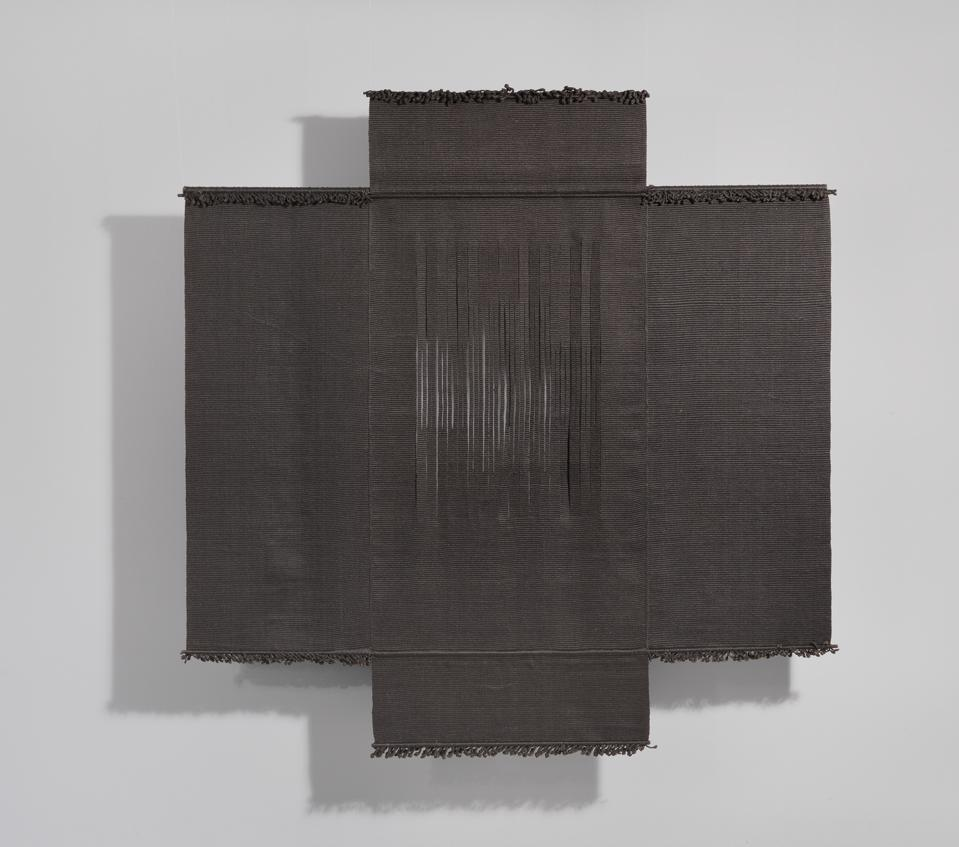 Lenore G. Tawney (1907-2007), Four Petaled Flower II, 1974. Woven linen and steel rods, 87 1/2 × 85 1/4 × 1 1/4 in. (222.3 × 216.5 × 3.2 cm). Whitney Museum of American Art, New York; gift of the Lenore G. Tawney Foundation 2014.298. © Lenore G. Tawney Foundation