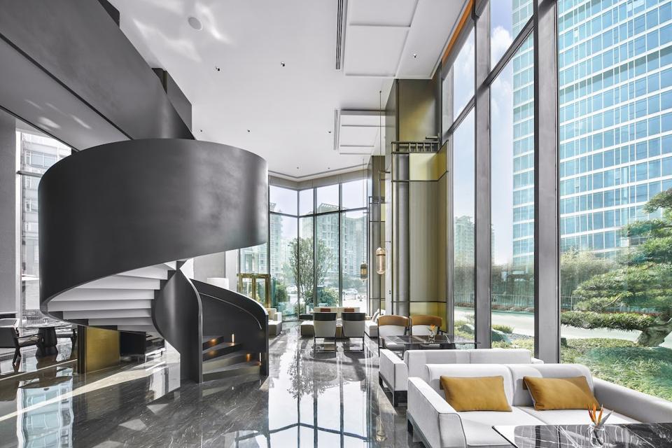 The lobby of the new InterContinental Hotels & Resorts, Dongguan, China.