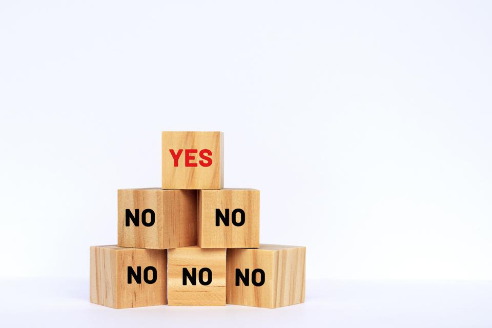 Yes and No Text on Wooden Blocks