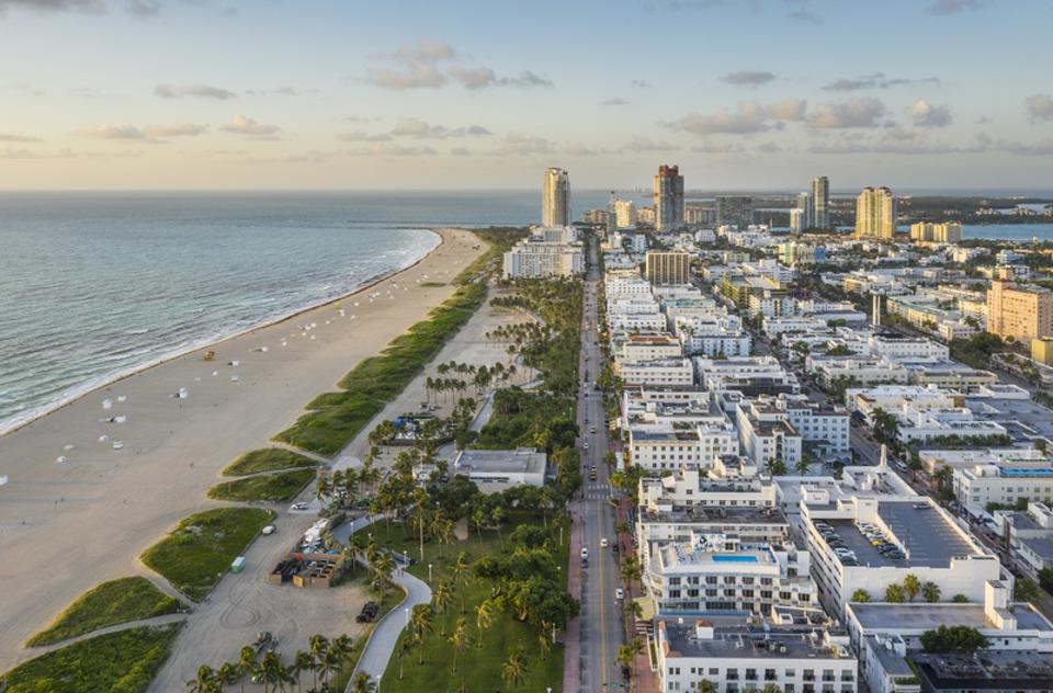 Miami Beach. Aerial view of South Beach.
