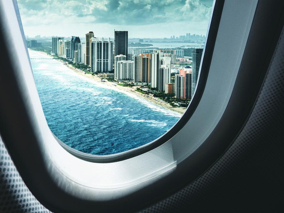 view from the airplane of miami