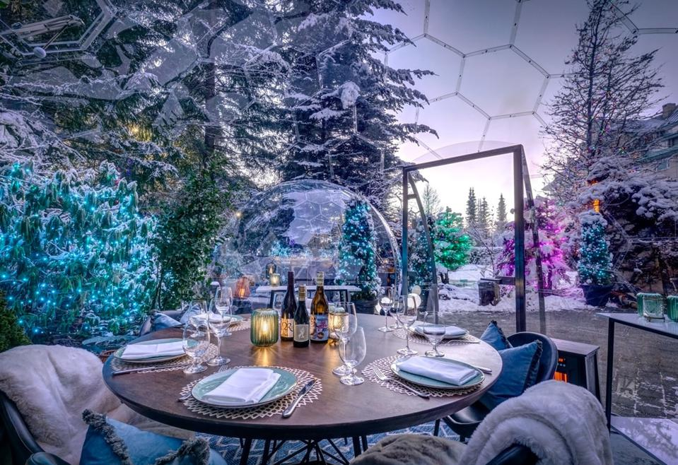Snow globe dining domes at Fairmont Chateau Whistler