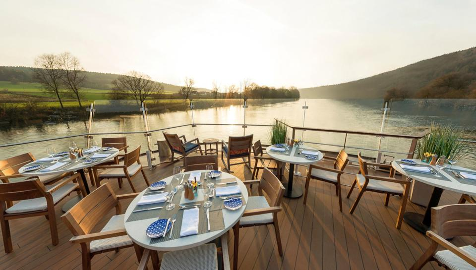 On the Aquavit terrace aboard a Viking Cruises in Europe drakkar.