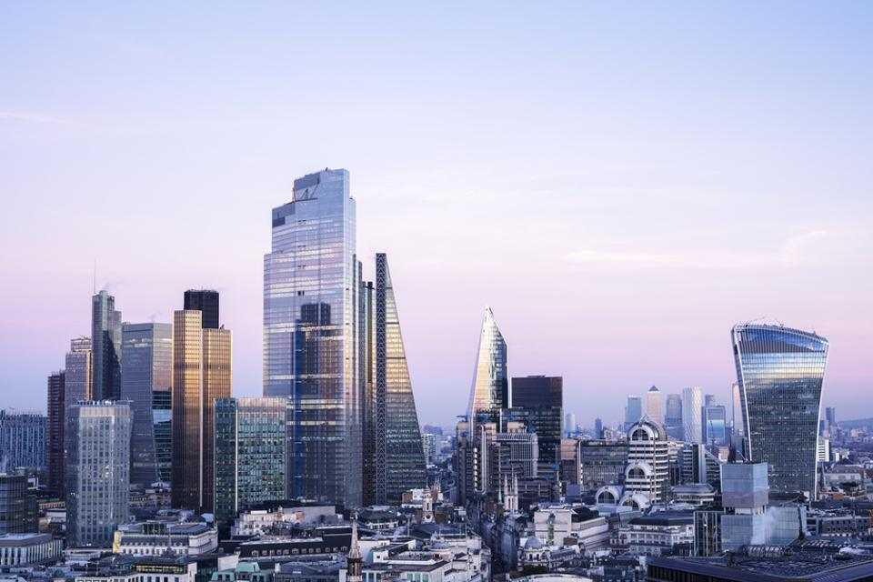 Elevated view of London city skyline