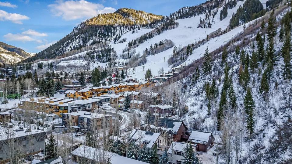aerial view of luxury homes aspen colorado