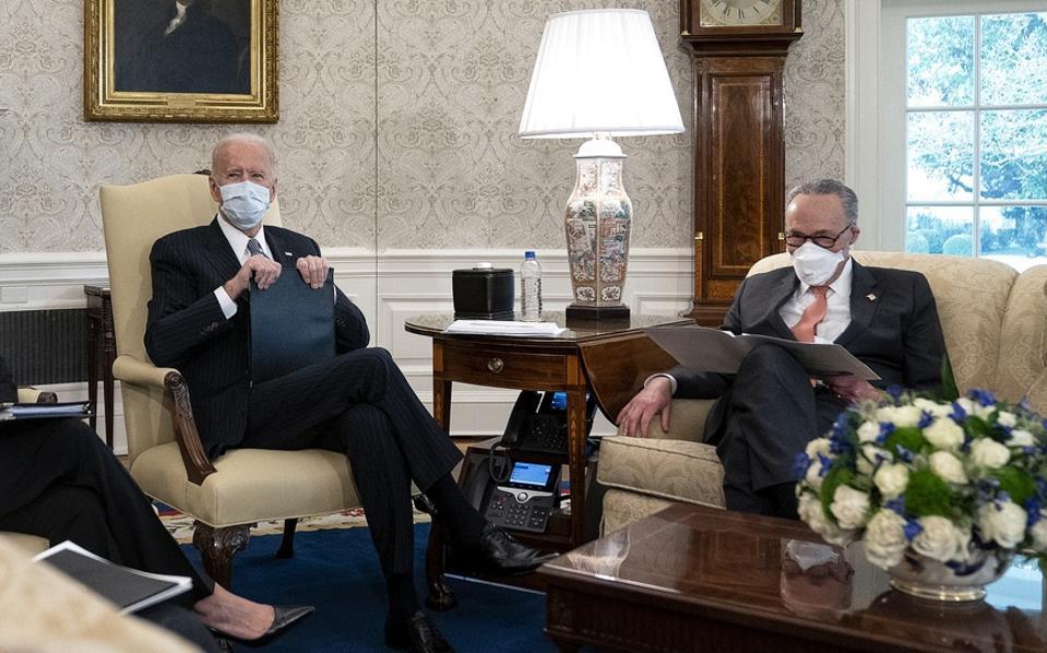President Biden And VP Harris Meet With Democratic Senators To Discuss The American Rescue Plan