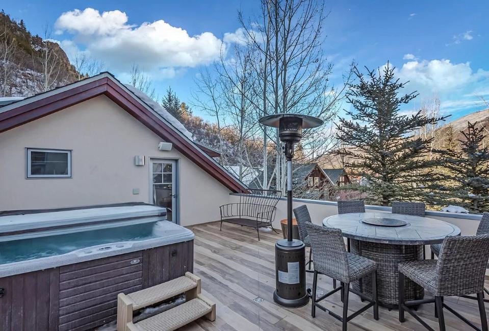 luxury aspen home rooftop patio jacuzzi
