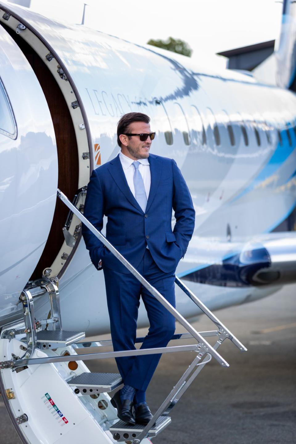 Man entering a private-jet
