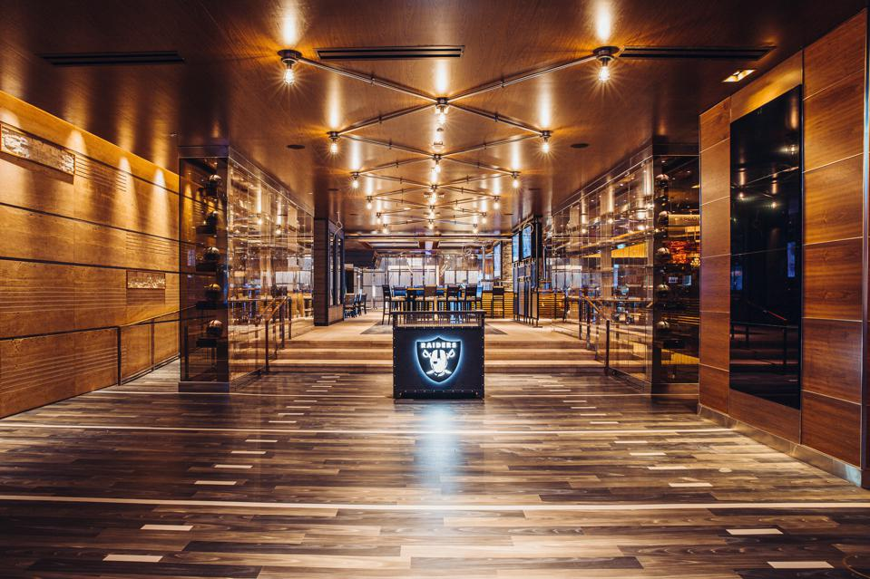 The entrance to the new Raiders Tavern & Grill in the M Resort, Henderson, Nevada.